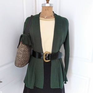 Bobeau Forest Green Open Cardigan Size Large